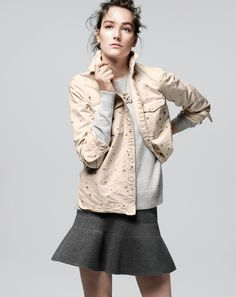 J.Crew women's gold star chambray shirt and flared surf skirt. Cute for Bianca.