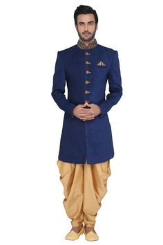 Buy online Sherwani - Dark blue indo-western with patiala from JadeBlue Mens Indian Wear, Indian Groom Wear, Indian Men Fashion, Sherwani Groom, Mens Sherwani, Wedding Sherwani, Wedding Dress Men, Wedding Wear, Kurta Men