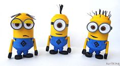 Despicable Me Minions made from paper using 3D Quilling techniques