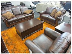 3PC 6-SEATER ANTIQUE BROWN FINISH LOUNGE SUITE