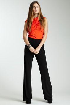Poleci Wide Black Matte Jersey Pant and Orange Cowl Tank Blouse work Work Attire, Office Attire, Work Fashion, Fashion Design, Career Wear, Pinterest Fashion, Couture Fashion, Passion For Fashion, Work Wear