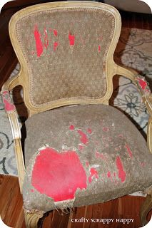 How to turn trash to a shabby chic treasure! {Re-upholstering my chair} | Crafty Scrappy Happy