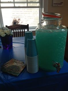 Simple but delicious punch! I used two bottles of berry blue blast Hawaiian Punch and two bottles of lemonade.