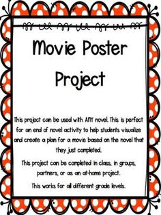 This project is designed for students to complete a movie poster based on the book that they completed. It is a fun and engaging way to get students excited about sharing the book that they finished beyond the traditional book report. This project can be completed with ANY novel in any grade level. Elementary School Library, Elementary Schools, Book Report Projects, Traditional Books, Library Activities, 5th Grade Reading, Middle School Ela, 5th Grades, Novels