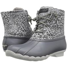 Sperry Top-Sider Saltwater Prints (Dark Grey/Cheetah) Women's Rain... ($120) ❤ liked on Polyvore featuring shoes, boots, ankle boots, wellington boots, print rain boots, waterproof boots, cheetah rain boots and cheetah print rain boots