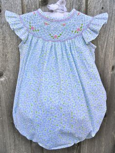 Blue & Green Floral Smocked Bubble from Smocked Auctions