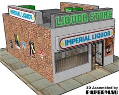 PAPERMAU: The Imperial Liquor Store Paper Model For Dioramas, RPG And Wargames - by Crimsonguard477