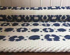 Myntelrugs floor runner, Scandinavian style rug, white floor runner, white and blue cotton rug runner, woven on the loom, handmade, washable, ready to ship.