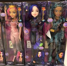 All three new Disney Descendants my size dolls. Audrey and Uma and Mal. See pics Disney Descendants Dolls, Disney Descendants 3, Descendants Pictures, Barbie Chelsea Doll, Diy Lace Ribbon Flowers, Disney Barbie Dolls, Disney Princess Pictures, Toys For Girls, American Girl