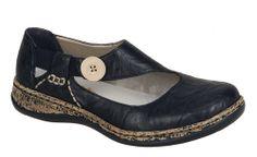 1827366addd5 Rieker 46364 Ladies Slip On Casual Shoe With Button Trim - 00 Black - 36