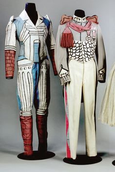 Costume design by Giorgio De Chirico: Italian painter, writer, theatre designer, sculptor and printmaker. De Chirico was one of the originators of Pittura Metafisica. His paintings are characterized by a visionary, poetic use of imagery, in which themes such as nostalgia, enigma and myth are explored. He was an important source of inspiration for artists throughout Europe in the inter-war years and again for a new generation of painters in the 1980s.