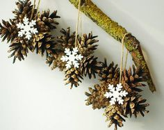 Natural Christmas tree ornaments Christmas decorations by SkopaniItems similar to Natural Christmas tree ornaments, Christmas decorations, Christmas tree decoration set of pinecone decorations on EtsyShop for on Etsy, the place to express your creati Best Christmas Tree Decorations, Pine Cone Decorations, Christmas Ornament Crafts, Christmas Projects, Handmade Christmas, Holiday Crafts, Christmas Wreaths, Christmas Crafts, Navidad Natural