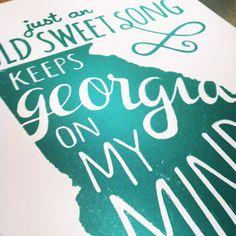 Georgia Print: Georgia on My Mind Letterpress Wall Art