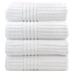 Amazon.com: Bare Cotton Luxury Hotel and Spa Bath Towels, Striped, White, Set of 4: Home & Kitchen