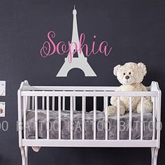 BATTOO Name Wall Decal Girl - Personalized Paris Wall Decal Girl- Paris Eiffel Tower Wall Decal - Wall Decals Nursery Girl Paris Decor Bedroom -- Visit the image link more details. (This is an affiliate link and I receive a commission for the sales)