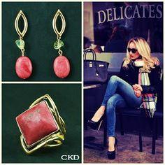Anel e brincos com jaspe rosê e citrinos! www.ckdsemijoias.com.br