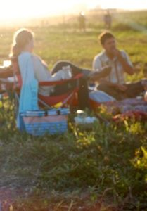 Picnic in a field at Dinner on the Farm, from One tomato, two tomato.