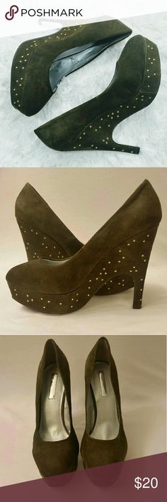 """OBO Halston Olive Studded Wedge Pumps Hi Poshers!  I'm selling these adorable Studded suede olive colored heel/wedges. They have 5"""" heel with a little over 1"""" platform. They do show some signs of wear (see pictures) but other than that good condition. H by Halston Shoes Heels"""