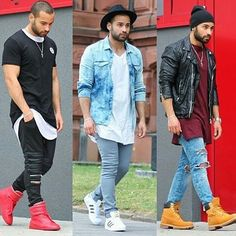 1 , 2 or Whats your favorite? Mens Fashion Wear, Fashion Mode, Dope Fashion, Denim Fashion, Urban Fashion, Stylish Men, Men Casual, Mode Man, Men With Street Style