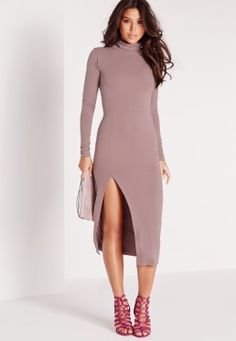 Work the neutral trend and look fierce in this bodycon-tagious midi dress. With its high neck and extreme split details this long sleeved beaut is hot property. Style with some barley there heels and ensure all eyes are on you, this lust w. Going Out Dresses, Cute Dresses, Prom Dresses, Dresses With Sleeves, Mauve Dress, Knee Length Dresses, Dresses Online, New Dress, Cold Shoulder Dress