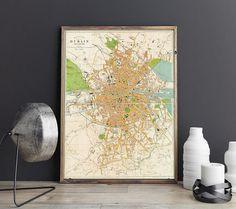 City Plan of Dublin Dublin Old Map Vintage Dublin Street