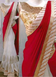 Buy Off White & Red Paper Silk Georgette Replica Saree