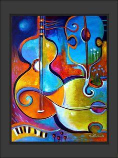 Music And Passion Acrylic Painting Marlina Vera
