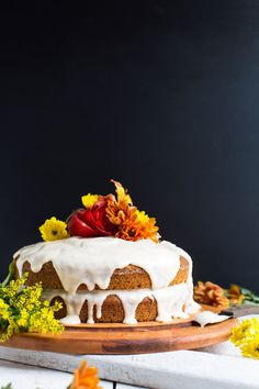Wholesome, naturally sweetened pumpkin cake with cream cheese frosting! Vegan, gluten free, and perfect for fall!