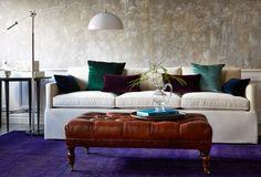Anna Cocktail Ottoman, Caramel Leather