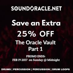 The #OracleVault is on sale now !!! #producers #hiphop #808s #drums #percussion #drumloops #musicloops Get it here: http://soundoracle.net/products/the-oracle-vault-pt-1?variant=30811949452