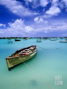 Fishing Boats Anchored in Lagoon Photographic Print by Olivier Cirendini at Art.com