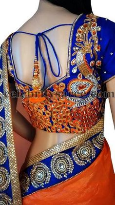 Peacock Blouse with Zircon Stones | Saree Blouse Patterns