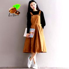 Women Casual Spring Vintage corduroy tank dress loose style suspenders plus size., Women Casual Spring Vintage corduroy tank dress loose style suspenders plus size Dresses women's clothes spaghetti strap dress. Yesterday's price: US . Modest Outfits, Modest Fashion, Women's Fashion Dresses, Hijab Fashion, Trendy Fashion, Korean Fashion, Casual Outfits, Fashion Clothes, Fashion Fashion