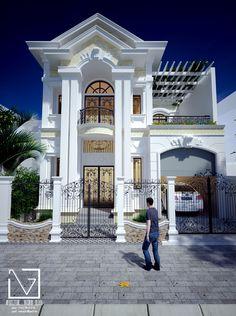 design binh phuoc house luxury homes dream Duplex House Plans, Luxury House Plans, Dream House Plans, House Front Design, Cool House Designs, Modern House Design, Casas California, Classic House Exterior, Mansion Designs