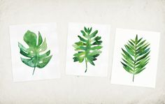 Tropical leaf watercolor print - Tropical Leaf Art Created from my original watercolor painting. This print is 1 of a series of 3 tropical leaves, the other two…