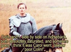 [gif] merlin commentaries-- Bradley. LOL! It's probably because Bradley teased Colin so much, everyone felt bad for him.