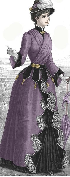 Clothing Patterns, Dress Patterns, Sewing Patterns, Winter Gowns, Winter Outfits, Victorian Evening Gown, Victorian Fashion, Victorian Outfits, Bustle Skirt