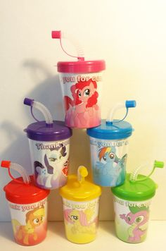 MY LITTLE PONY PERSONALIZED BIRTHDAY PARTY FAVOR CUPS LIDS & STRAWS SET OF 6, MY LITTLE PONY PARTY FAVOR TREAT CUPS http://www.partyfavorcups4u.com/