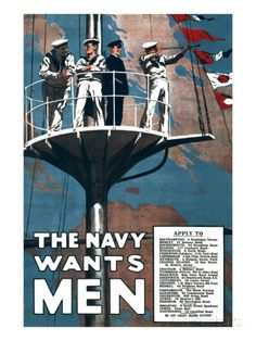 Vintage WWI British Royal Navy Wants Men War Recruitment Poster Ww1 Propaganda Posters, Navy Chief, World War One, Military Art, Military Quotes, Royal Navy, Vintage Posters, Vintage Ads, Sailors