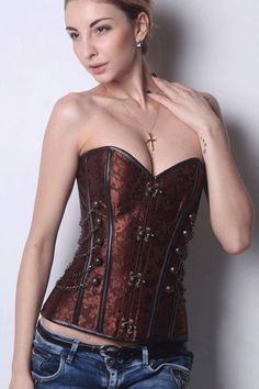 Brown Steampunk Boned Corset with Chain Stud Detail