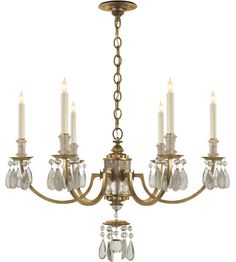 Visual Comfort Thomas OBrien Elizabeth 6 Light Chandelier in Gilded Iron with Wax TOB5036GI #visualcomfort #lightingnewyork #lighting