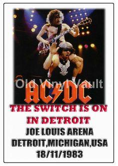 AC/DC Concert Poster Joe Louis Arena,Michigan,Detroit,USA 1983 A3 Repro  NEW  | eBay