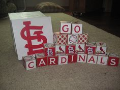 St. Louis Cardinals Baby Block Set- One of a Kind. $50.00, via Etsy.