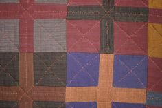 Mennonite Wool Four Patch Quilt: Circa 1930: Pa.