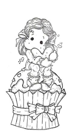 On a muffin with a heart Coloring Book Pages, Coloring Pages For Kids, Coloring Sheets, Digital Stamps Christmas, Copics, Colorful Pictures, Clipart, Magnolias, Creations