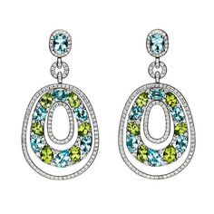 Stunning Peridot Blue Topaz with Diamond Earrings | From a unique collection of vintage dangle earrings at https://www.1stdibs.com/jewelry/earrings/dangle-earrings/