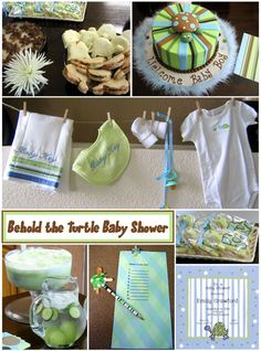 Turtle Reef Baby Shower; ideas; clothes line... I like the clothesline and the sandwiches cut out with cookie cutters... cute idea
