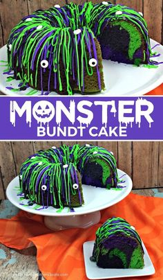 Halloween Monster Bundt Cake. This is easy to make and about the coolest Hallowe...  #halloween #halloweencostumes #halloweentreats