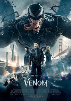 Tom Hardy stars as Eddie Brock, the host for Venom. The film also stars Michelle Williams, Riz Ahmed, Jenny Slate and Woody Harrelson. We get to see Venom [. Film Venom, Venom Movie, 2018 Movies, New Movies, Movies Online, Good Movies, Popular Movies, Movies Free, Watch Movies