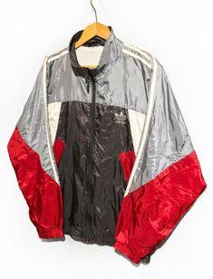 708e171778ac Adidas windbreaker jacket Trefoil Full Zipp Shell Multicolor Retro Sport  jacket Red White Gray Blue SIZE L D7